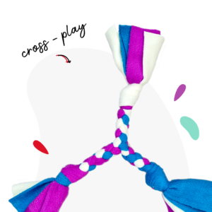 Party chop feature image in floof white, turquoise and magenta colours in opal pattern