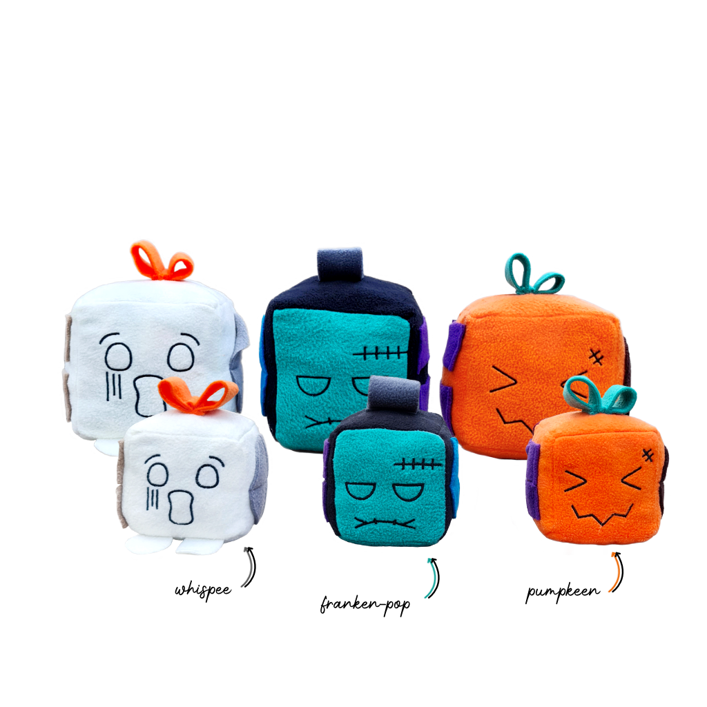Howloween Mish-mash block collection of Whispee, Franken-pop and Pumpkeen in two sizes (small and large)