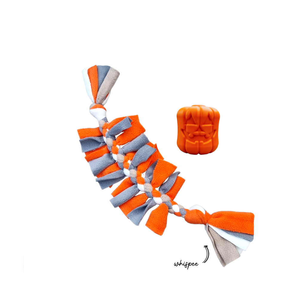 Howloween Jack-o-lantern Whispee Collection with a Crawly in tangerine, floof white, titanium and biscuit colours