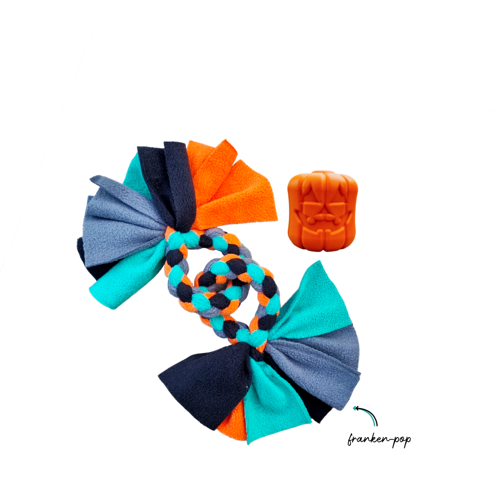 Howloween Jack-o-lantern Franken-pop Collection with a Double ring toy in teal, ink, tangerine and steel colours