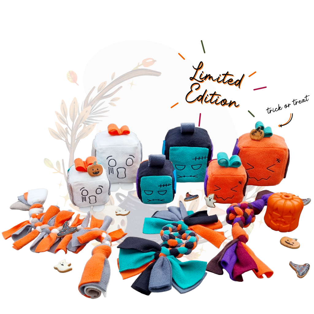 Howloween Limited Edition Collection Feature Whispee, Franken-pop and Pumpkeen Mish-mash blocks. Howloween theme toys, Jack-o-lantern treat dispenser and cookies
