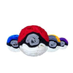 Snoof-e-ball collection of base (red), great (blue), ultra (yellow) and master (purple) balls.
